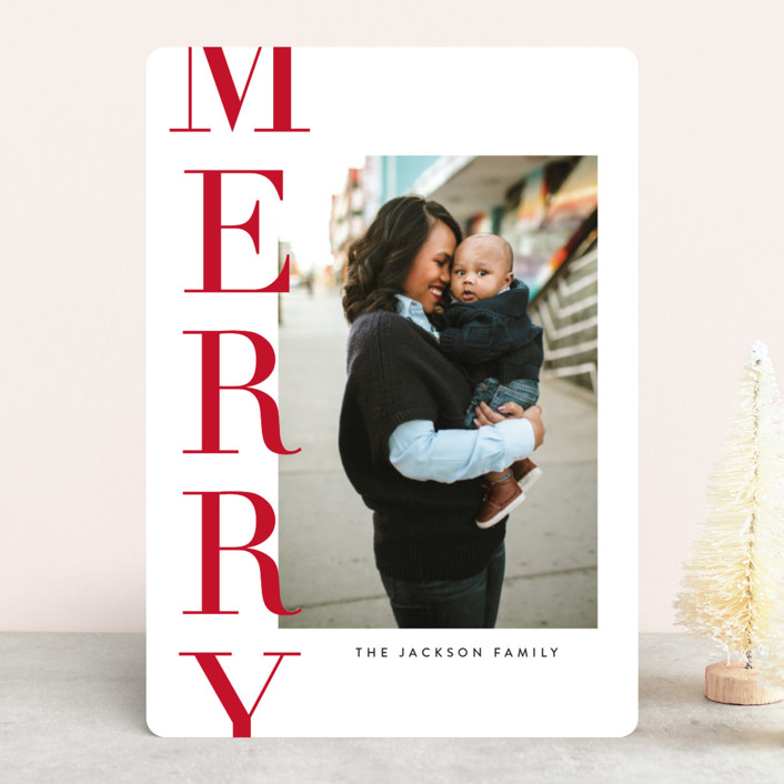 """""""Offset Merry"""" - Christmas Photo Cards in Cardinal by Jessica Williams."""