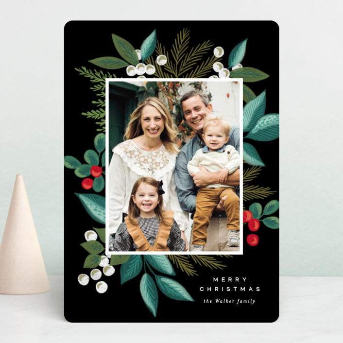 """""""Greenery Spray"""" - Christmas Photo Cards in Greenery by Alethea and Ruth."""