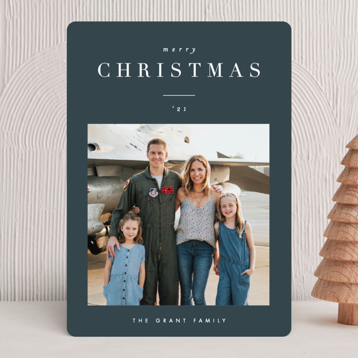 """headline"" - Christmas Photo Cards in Midnight by Carolyn Nicks."