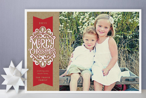 Kraft Ribbon Christmas Photo Cards