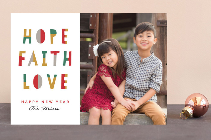 """Hope Faith Love Fun"" - Modern Christmas Photo Cards in Honey by Pixel and Hank."