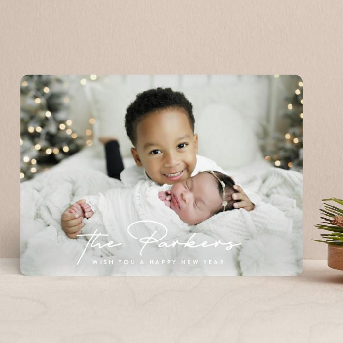 """Stylish Surname"" - Christmas Photo Cards in Snow by Ekko Studio."