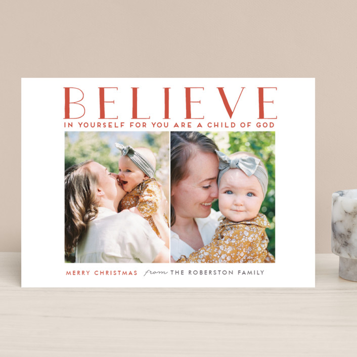 """""""BELIEVE IN YOURSELF"""" - Christmas Photo Cards in Robin Red by Stacy Cooke."""