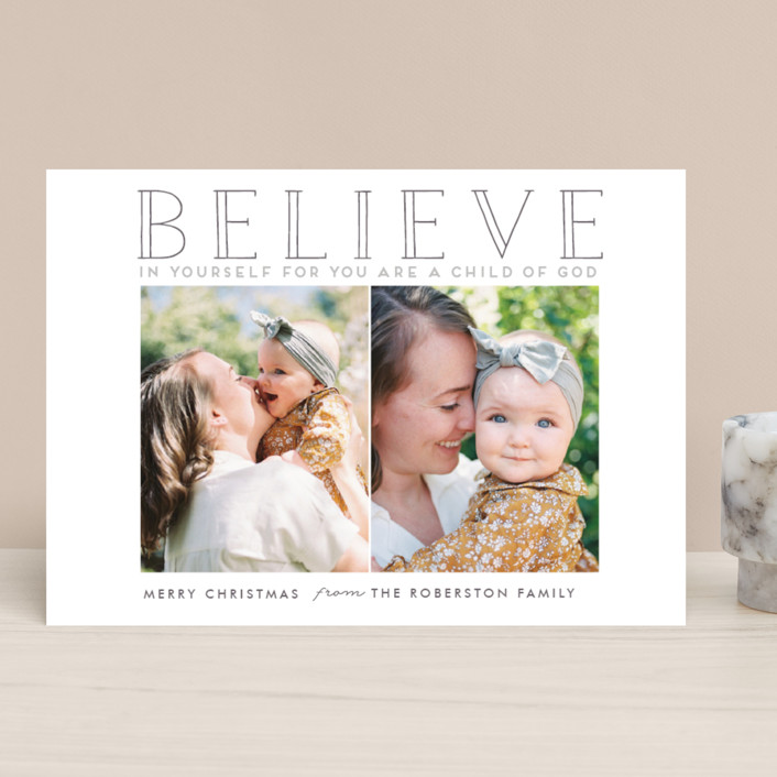 """""""BELIEVE IN YOURSELF"""" - Christmas Photo Cards in Fir Tree Green by Stacy Cooke."""