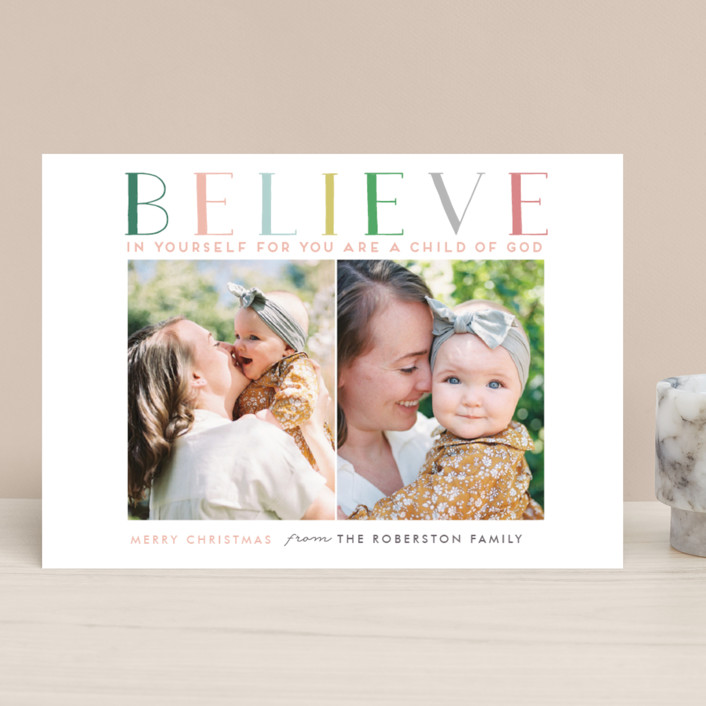 """BELIEVE IN YOURSELF"" - Christmas Photo Cards in Fir Tree Green by Stacy Cooke."