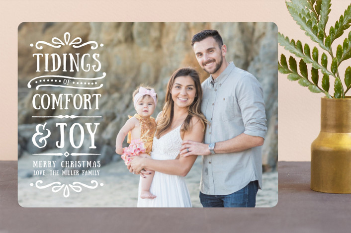 """""""Comfort + Joy"""" - Vintage Christmas Photo Cards in Frosting by Olivia Goree."""