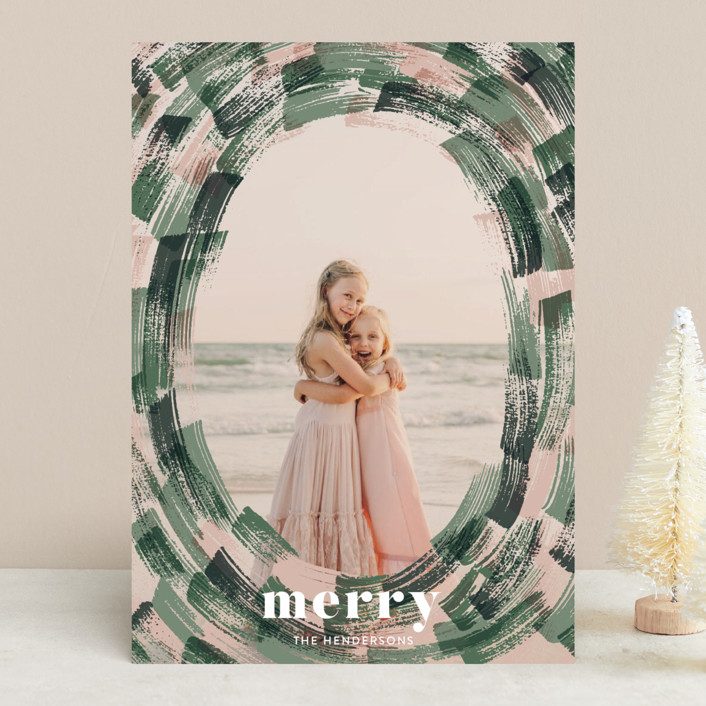 """""""overlapped brushes"""" - Christmas Photo Cards in Evergreen by Aspacia Kusulas."""