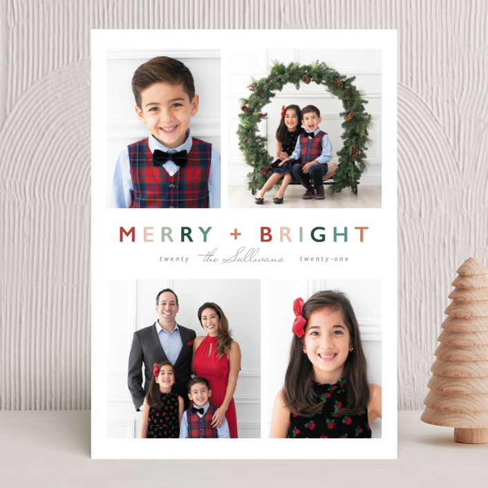 """""""Merry + Bright"""" - Modern Christmas Photo Cards in Fruitcake by Hudson Meet Rose."""
