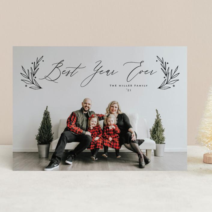 """Chic Script"" - Christmas Photo Cards in Coal by Nicole Barreto."