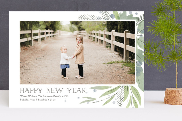 """""""Watercolor Greenery"""" - Christmas Photo Cards in Trellis by Lorent and Leif."""