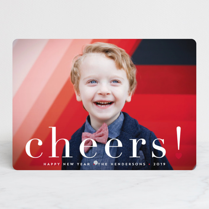 """joy from heart"" - Editor's Picks Christmas Photo Cards in Berry by Qing Ji."