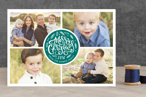 Stamped Circle Christmas Photo Cards