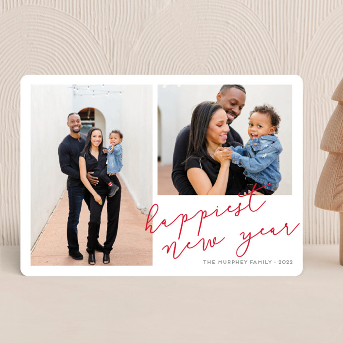 """""""Twice as Happy"""" - Christmas Photo Cards in Red Ribbon by Kaydi Bishop."""