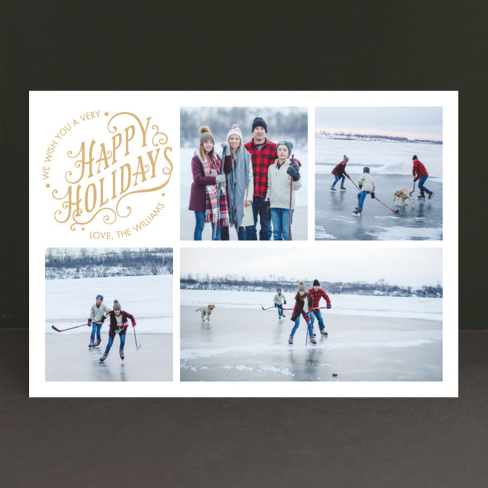 """""""Merry Days"""" - Photo Collage, Typography Christmas Photo Cards in Creme by Ekaterina Romanova."""