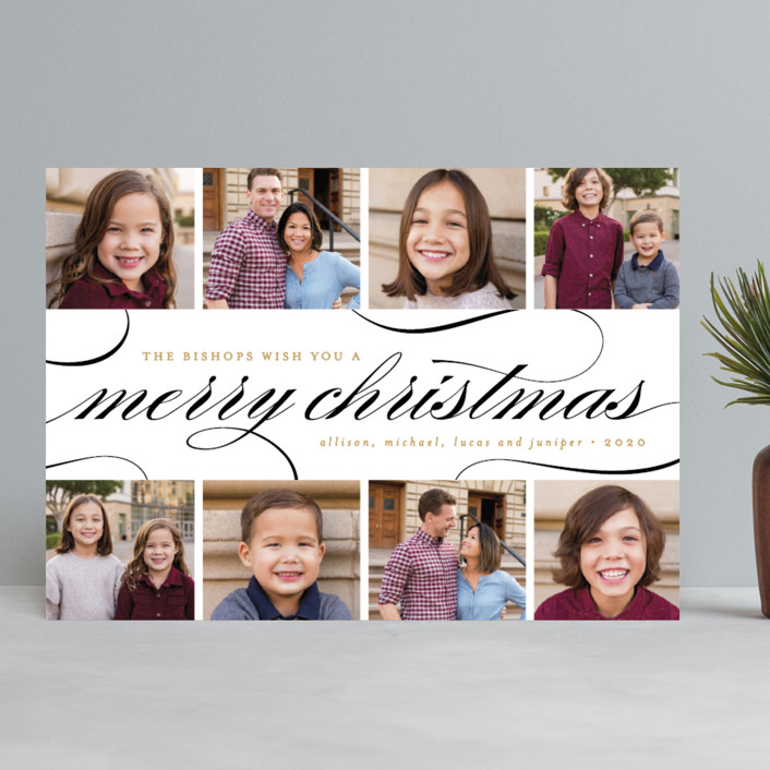 """""""Elegant Christmas Collage"""" - Christmas Photo Cards in Coal by Pistols."""