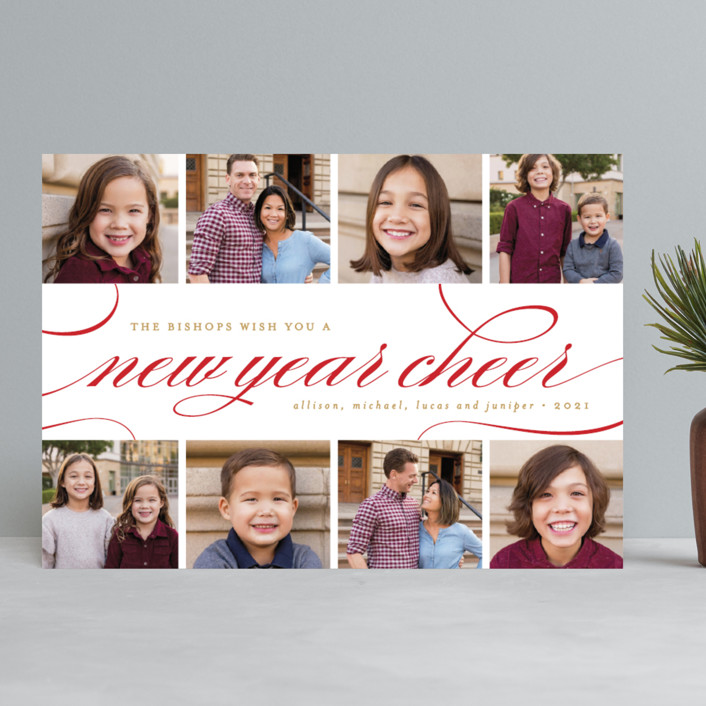"""Elegant Christmas Collage"" - Christmas Photo Cards in Berry by Pistols."
