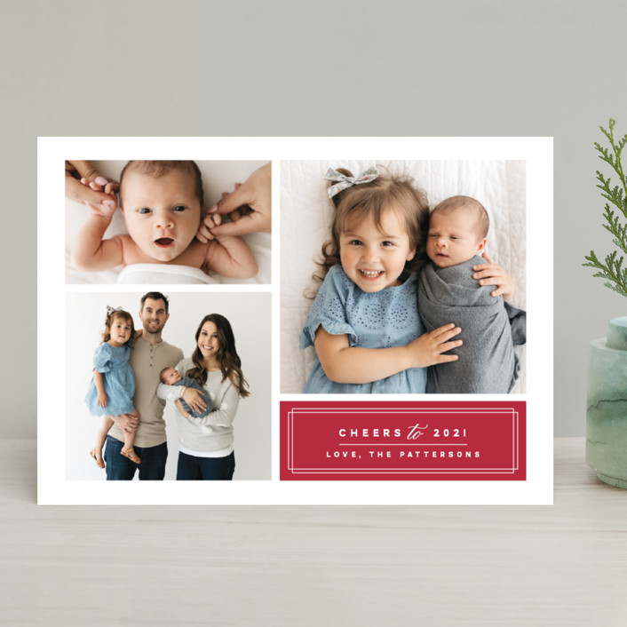 """""""Classic Trio"""" - Christmas Photo Cards in Holy Berry by Griffinbell Paper Co.."""