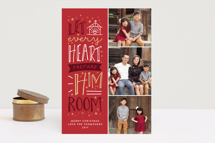 """Prepare Him Room"" - Christmas Photo Cards in Holly Berry by Amy Payne."