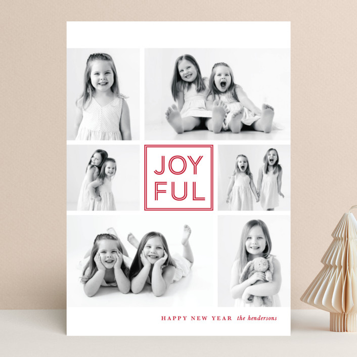 """JOY-FUL"" - Christmas Photo Cards in Cranberry by Lauren Chism."