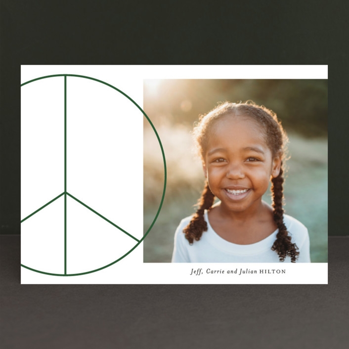 """Big Peace"" - Christmas Photo Cards in Emerald by Baumbirdy."