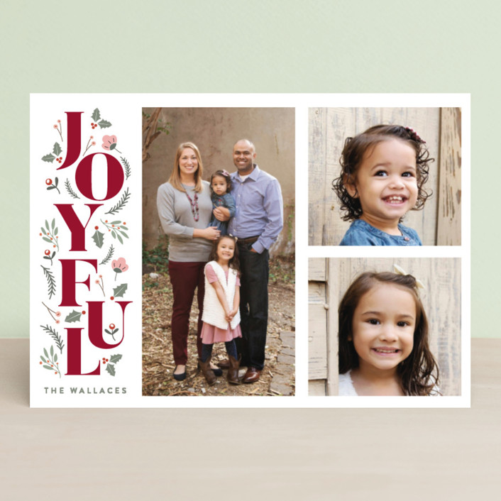 """""""Foliage Joyful"""" - Christmas Photo Cards in Forest by curiouszhi design."""