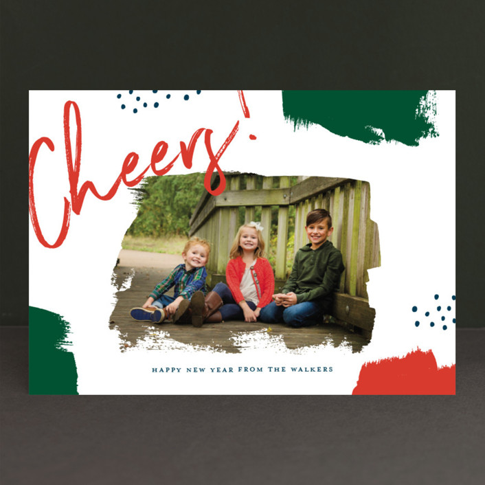 """Brushes"" - Christmas Photo Cards in Berry by Oscar & Emma."