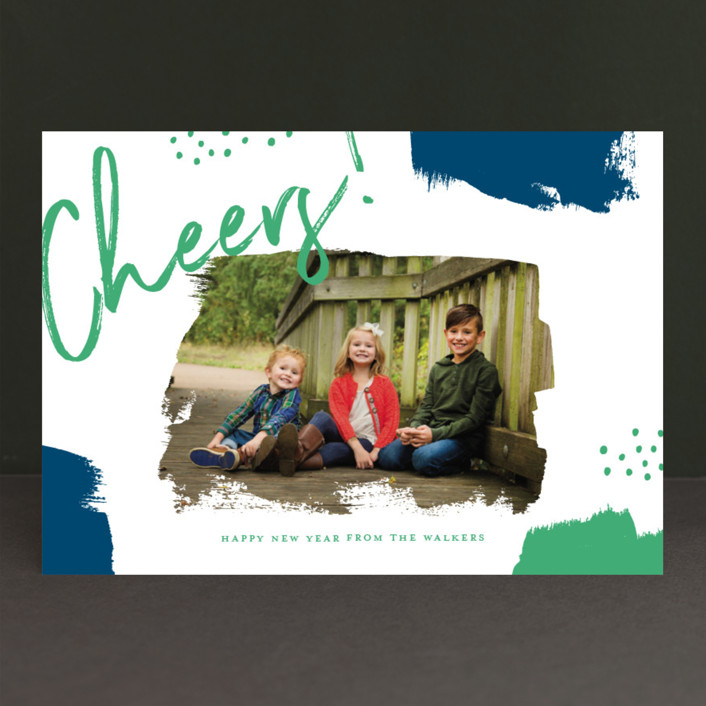 """""""Brushes"""" - Christmas Photo Cards in Berry by Oscar & Emma."""
