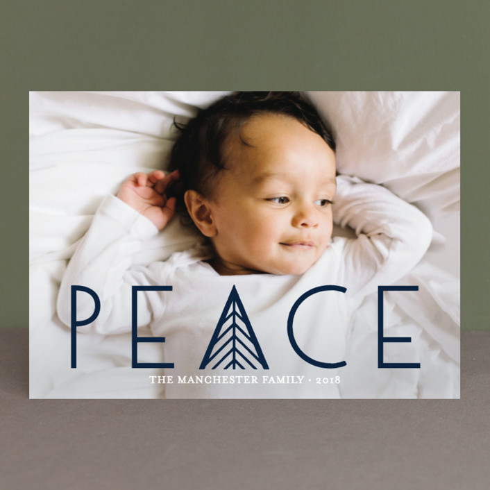 """Herringbone Peace"" - Christmas Photo Cards in Snow by Abby Munn."