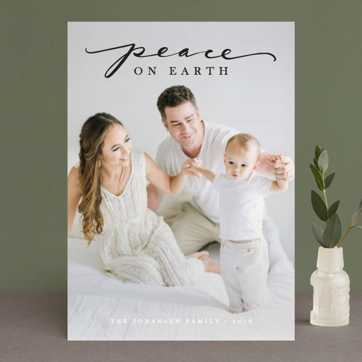 """""""Swirl Peace on Earth"""" - Christmas Photo Cards in Snow by Jamie Schultz Designs."""