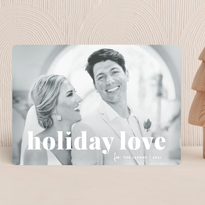 """vintage holiday love"" - Christmas Photo Cards in Snow by Sara Hicks Malone."