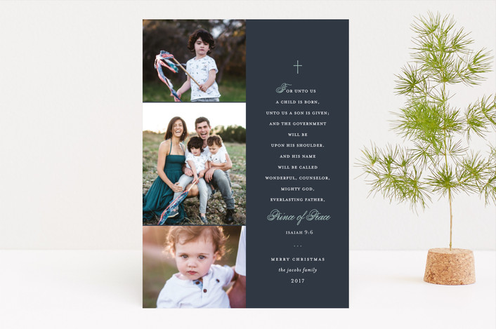 """""""Treasured Scripture"""" - Christmas Photo Cards in Blue Spruce by Lauren Chism."""