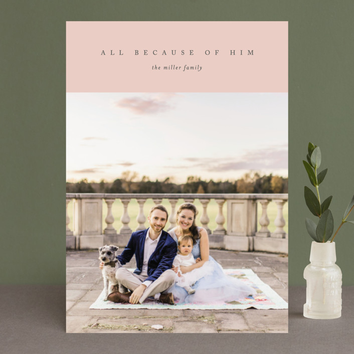 """All Because of Him"" - Christmas Photo Cards in Navy by Erin L. Wilson."