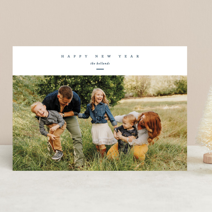 """""""Landscape"""" - Christmas Photo Cards in Navy by Erin L. Wilson."""
