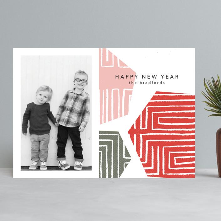 """Geometrics"" - Modern Christmas Photo Cards in Cranberry by Anna Elder."