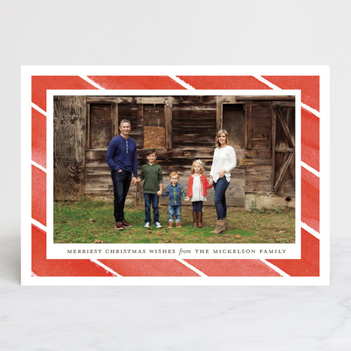 """""""Candy Stripes"""" - Christmas Photo Cards in Holly Berry by Little Words Design."""