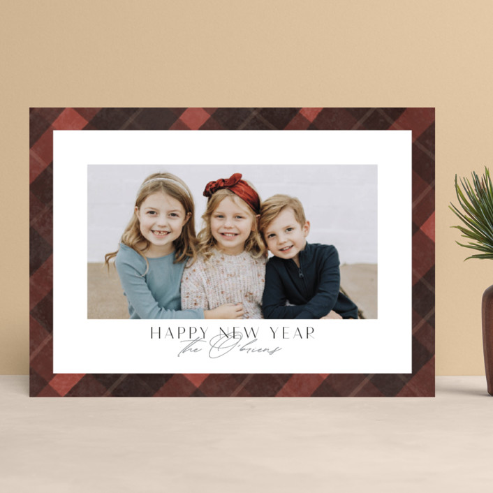 """Buffalo Check"" - Vintage Christmas Photo Cards in Cardinal by Nicole Barreto."