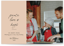 This is a beige photo christmas card by Erika Firm called Peace Love and Cookies with standard printing on smooth signature in standard.
