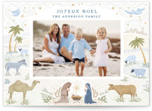 This is a yellow photo christmas card by Paper Sun Studio called Joyful Nativity with standard printing on pearlescent in standard.