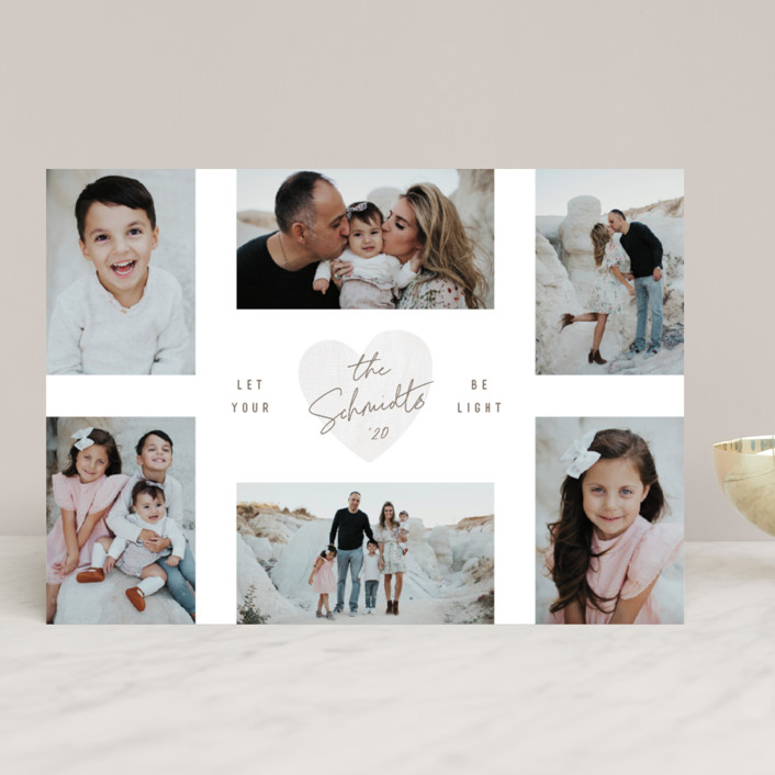 """Let Your Heart"" - Christmas Photo Cards in Dove Grey by Hooray Creative."