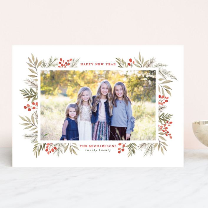 """Berries + Pine"" - Christmas Photo Cards in Cranberry by Wildfield Paper Co.."