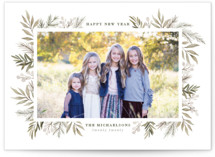 This is a grey photo christmas card by Wildfield Paper Co. called Berries + Pine with standard printing on smooth signature in standard.