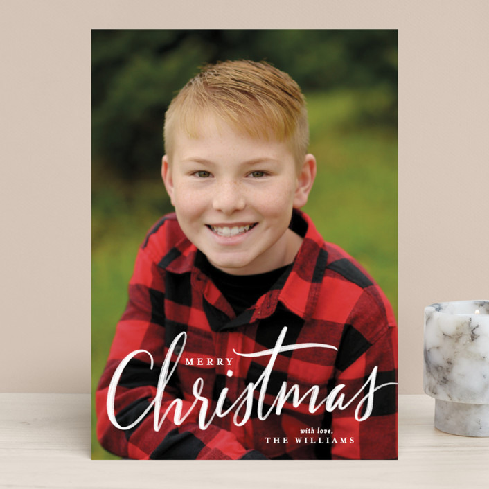 """chalk script Christmas"" - Christmas Photo Cards in Chalk by Rebecca Durflinger."