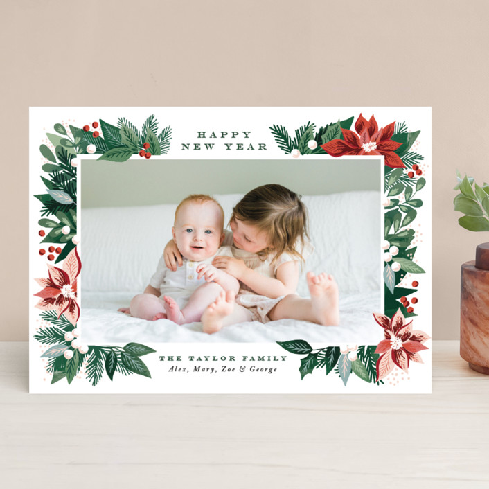 """Poinsettia Pine Frame"" - Christmas Photo Cards in Coal by Alethea and Ruth."