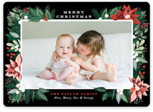 This is a black photo christmas card by Alethea and Ruth called Poinsettia Pine Frame with standard printing on smooth signature in standard.