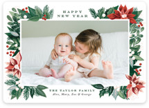 This is a green photo christmas card by Alethea and Ruth called Poinsettia Pine Frame with standard printing on smooth signature in standard.