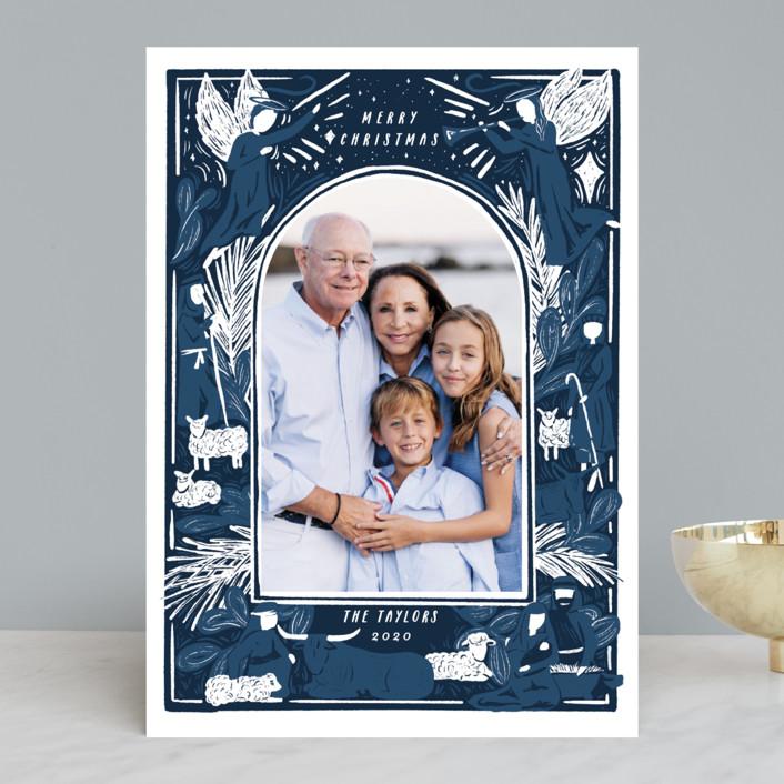 """Woodblock Nativity Frame"" - Bohemian Christmas Photo Cards in Navy by Shiny Penny Studio."
