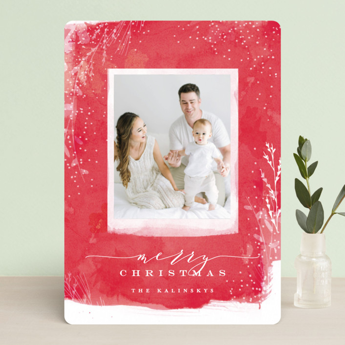 """""""Snowprint"""" - Bohemian Christmas Photo Cards in Holly by Lori Wemple."""