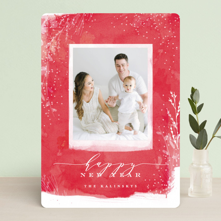 """Snowprint"" - Bohemian Christmas Photo Cards in Holly by Lori Wemple."