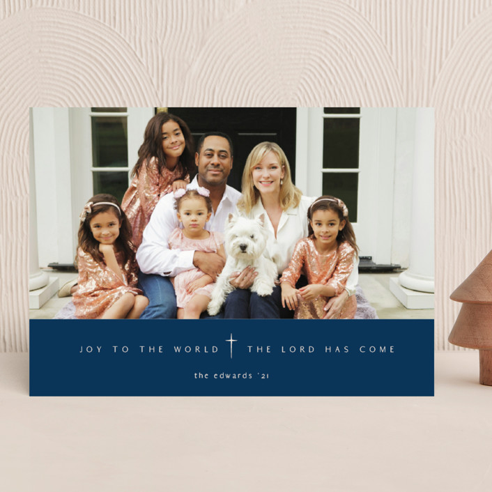 """""""Pure Joy To The World"""" - Christmas Photo Cards in Navy by fatfatin."""