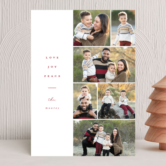 """""""Margin"""" - Christmas Photo Cards in Poinsettia by Brianne Larsen."""